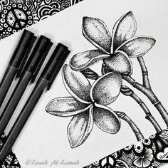 Find images and videos about art, black and white and flowers on We Heart It - the app to get lost in what you love. Black Pen Drawing, Doodle Art Drawing, Cool Art Drawings, Ink Pen Drawings, Black Pen Sketches, Black And White Art Drawing, Black And White Sketches, Stippling Drawing, Dotted Drawings