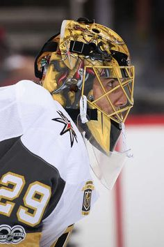 GLENDALE, AZ - OCTOBER Goaltender Marc-Andre Fleury of the Vegas Golden Knights in action during the NHL game against the Arizona Coyotes at Gila River Arena on October 2017 in Glendale, Arizona. (Photo by Christian Petersen/Getty Images) Hockey Goalie, Hockey Teams, Ice Hockey, Hockey Baby, Hockey Stuff, Golden Knights Hockey, Vegas Golden Knights, Las Vegas Knights, Lets Go Pens