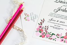 Hand Painted Shades of Pink Floral Wedding Invitation by Behold Designz.