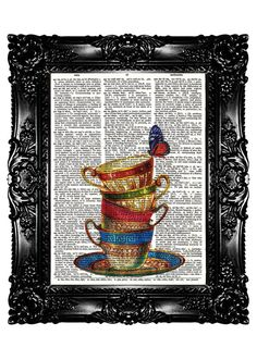 TEA CUPs Print Dictionary Print  Upcycled Book  Art by nommon, $7.99