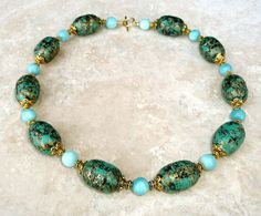 Genuine Caribbean Larimar Quartz Raku Bead Antique Gold Plated Chunky Necklace #Handmade #Beaded