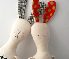 rag doll toy modern rabbit fabric bunny plushie boy black white .. funny philbert .. children