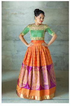 25 Kanjeevaram Lehenga Inspirations Handpicked For The Sister Of The Bride Ethnic Dress, Indian Ethnic Wear, Indian Dresses, Indian Outfits, Western Outfits, Lehenga Crop Top, Kids Dress Wear, Kids Lehenga, Lehenga Designs