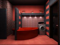 Contemporary Indian Style Red And Black Bathroom Designs Ideas