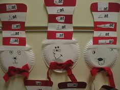 Cat in the Hat displaying rhyming words Consider doing this during Read Across America Week Dr. Seuss, Dr Seuss Week, Dr Seuss Activities, Music Activities, Dr Seuss Birthday, Rhyming Words, Kindergarten Activities, Preschool Songs, Kindergarten Classroom