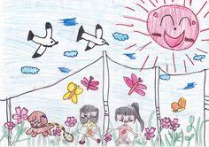 ■■■浪江町立浪江小学校/4年生/女の子 ■■■  【作品タイトル】コスモス畑で犬のメイと友達とおいかけっこ   【伝えたい事】 わたしが幼稚園の時に住んでいた、浪江町にもう一度行って、コスモス畑で友達や犬のメイちゃんといっしょに遊びたいという気持ちを絵にかきました。浪江には海があったのでカモメもかきました。