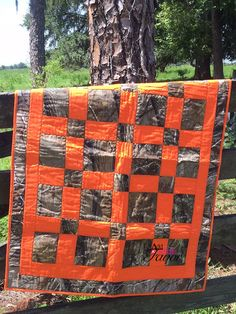 Real Tree Camo & Orange Hand Made Baby Quilt 36 by AddalittleFavor