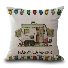 Cartoon Camping Touring CartoonCar Printing Cotton Embrace Pillow Case Bay Window By Pillow Case Dorp Shipping