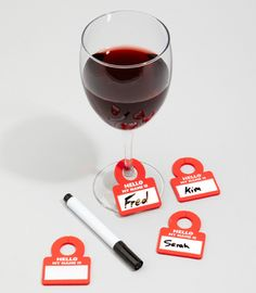 Drink glass name tags. Brilliant to remember whose drink is whose and everyone's names. Plus would cut down on wasting clean glasses $12.00 for set of 6