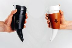 Drink your coffee like a viking! Stylish goat horn mug comes with a convenient shoulder sash as well as standing base. Learn more about its creation in this video by clicking here!