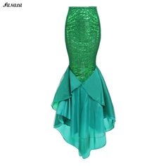 Gender: Women Pattern Type: Solid Decoration: Sequined Silhouette: Trumpet / Mermaid Dresses Length: Floor-Length Waistline: Natural Material: Polyester Skirt Length: Floor Length Waist Type: Elastic Waist Waist: Mid Waist Closure Type: Side Zipper Closoure Color: Green Skirt Type: Mermaid Skirt