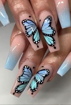 Baby blue acrylic nail designs are versatile, cute, and just plain fun. You can't help but smile every time you look down at your baby blue nails. Butterfly Nail Designs, Butterfly Nail Art, Acrylic Nail Designs, Nail Art Designs, Design Art, Butterfly Wings, Nails Design, Blue Acrylic Nails, Summer Acrylic Nails