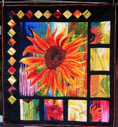 Fiber  Wall Art Bright Modern quilted wall hanging  Sunflower Daydreams by KellettKreations on Etsy