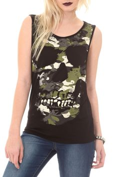 Black tank top with camo skull on the front and cut-out squares on the back.