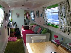 Country style narrow boat interior