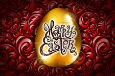 Happy Easter. Calligraphy lettering. by Rommeo79 on @creativemarket