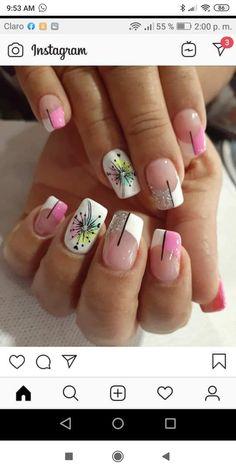 Rosa y glitter Matte Nails, Nail Manicure, Nail Designs, Nail Art, Glitter, Beauty, Work Nails, Classy Gel Nails, Polish Nails