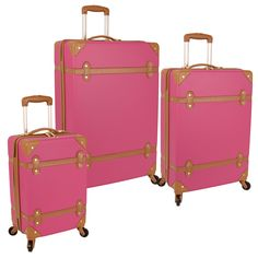 The vintage trunk inspired yet thoroughly modern Diane von Furstenberg Saluti Hardside 3 Piece Spinner Luggage Set reminds us of travels of old but with all the