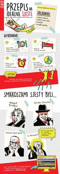 Infografika: Przepis na idealną sjestę - Hispanico.pl // #Hiszpania #sjesta #hiszpański #infografika #infographic #espana #espanol #spanish #spain