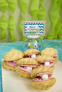 """Oyster"" cookies at an Under the Sea Party #underthesea #partycookies"
