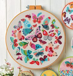 A sweet summery design full of whimsical butterflies of all shapes and sizes. This design would work beautifully in a large hoop as shown and the perfect addition to a little ones room. There is a bit of backstitch, but the remainder of the pattern is whole stitches so great for all