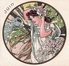 Alphonse Mucha - Month's of the Year - June - Art Nouveau