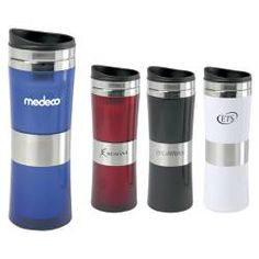 Promotional products - Signal Tapered Tumbler / Travel mug custom branded with your company logo - High Fashion Design with Stainless Steel Band and Accents