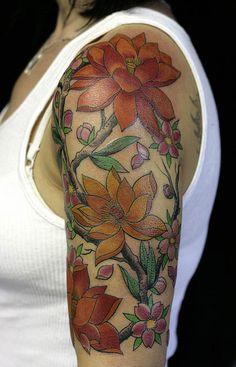 Flower Vine Tattoo Designs | ... Tattoos: 25+ Appealing Flower Tattoo And Vine Designs Quarter Sleeve