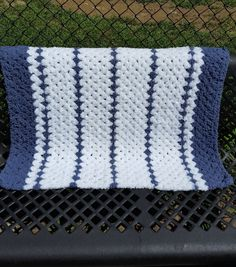 Blue Baby Blanket Blue Afghan Baby bedding Baby gear Baby essentials Blue Crochet Blanket Stroller cover Baby boy Blanket Stripe Afghan by UniqueKnitDesign on Etsy