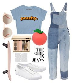 """Peachy Overalls"" by zidith ❤ liked on Polyvore featuring RE/DONE, Lacoste and GlassesUSA"