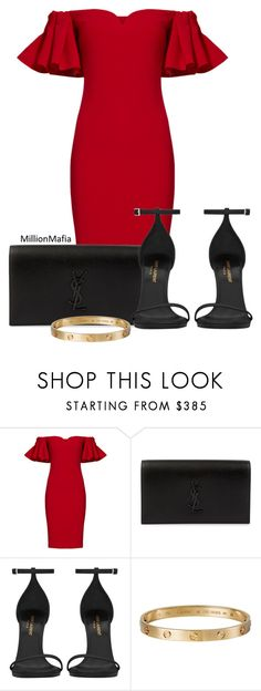 """."" by millionmafia ❤ liked on Polyvore featuring Badgley Mischka, Yves Saint Laurent and Cartier"