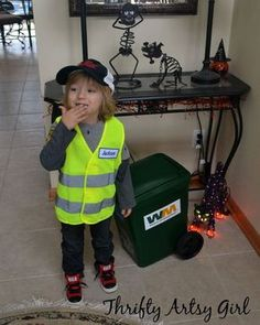 Take Out the Trash: DIY Toddler Sized Wheeled Trash Can and Garbage Man Costume ~ Thrifty Artsy Girl