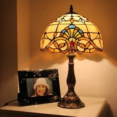 Brilliant Sunrise Tiffany Bedside Lamp