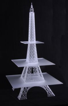 A new modular cup cake stand based on the Eiffel Tower cake stand design. The widest platform is wide. The whole piece is made from laser cut frosted, clear acrylic. Eiffel Tower Cake, Cake Tower, Eiffel Towers, Eiffel Tower Centerpiece, Paris Theme Centerpieces, Paris Birthday Parties, Paris Party, Teen Parties, Spa Birthday