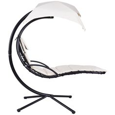 Auténtico Air Porch Swing Hammock Chair With Canopy Hanging Chaise Lounger Arc Stand Ideal For Relaxation In Garden Patio Park Outdoor Porch Or Pool Side Cushion For Extra Comfort *** For more information, visit image link. (This is an affiliate link) Hammock Swing Chair, Swinging Chair, Natural Cushions, Sun Canopy, Outside Living, Relax, Beige, Patio, Backyard