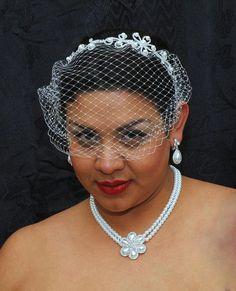 1920s Headband Veil Outfit | ... Veil Headband, Wedding Headband, Flower Pearl Hair Piece, 1920s
