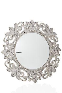 Antique white mirror.