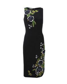 Oscar de la Renta | Black Jewel Neck Flower Embroidered Dress | Lyst