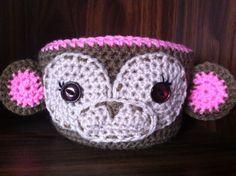 Meryl the monkey crochet basket by : bcreations85