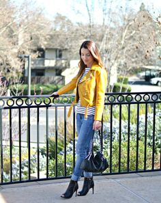 black and white stripes, yellow jacket, springtime outfit, distressed jeans, casual outfit, peplum top,