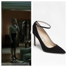House of Cards: Season 4 Episode 10 Claire's Black Suede Ankle Strap Pointed Pumps
