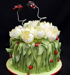 Flowers & Lady Bugs Cake