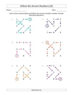 The Follow The Arrows to Build a Number and Include Thousands Separators (Grid Numbers in Order) (A) Math Worksheet from the Place Value Worksheets Page at Math-Drills.com. Place Value Worksheets, Math Worksheets, Math Drills, Place Values, First Page