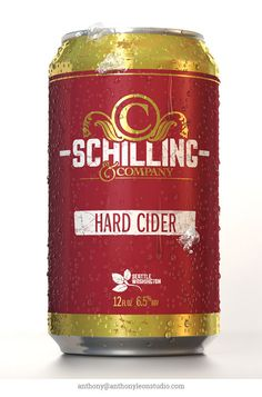 Schilling Hard Cider can design. I modeled the can and all ice and water drops in 3D. Created the textures from flat files to use in C4D. Used for client presentation. #anthonyleonstudio #3dproduct #3dbeverage #productrender