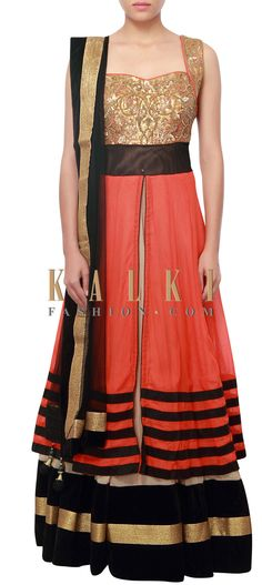 Buy Online from the link below. We ship worldwide (Free Shipping over US$100) http://www.kalkifashion.com/orange-and-beige-anarkali-embellished-in-sequins-and-zardosi-only-on-kalki.html