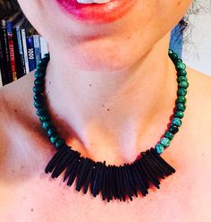 Turquoise bib necklace // Tribal Necklace // Wood by Fraudess, $60.00