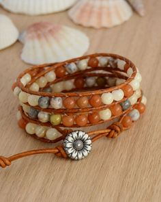 Autumn colors bracelet. Beaded wrap bracelet. by SinonaDesign, €47.00