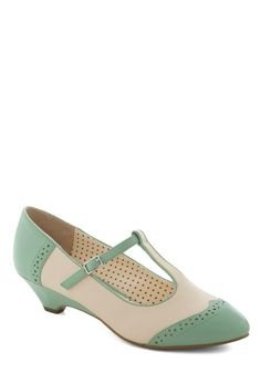 Care to Dance? Wedge in Mint by Bait Footwear - Mint, Solid, Cutout, Wedge, Pastel, Trim, Variation, Tan / Cream, Work, Daytime Party, Vintage Inspired, 20s, 30s