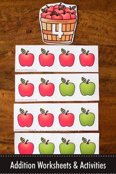 Addition Worksheets and Activities - Apple Theme Apple Activities Kindergarten, Preschool Apple Theme, Autumn Activities For Kids, Counting Activities, Kids Learning Activities, Fun Learning, Preschool Math, Addition Facts, Math Addition