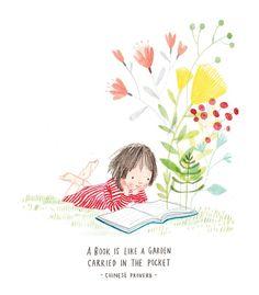 Read, alone or with, a pleasure we should encourage children / Leer, sola o acompañada, un auténtico placer que debemos fomentar en la infancia (ilustración de Rachel Stubb)